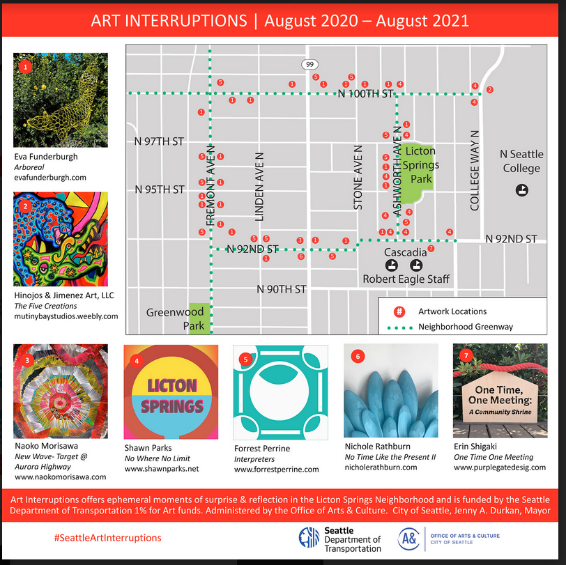 Seattle Art Interruptions by Seattle Department of Transportation 1% for Art funds & Office of Arts & Culture
