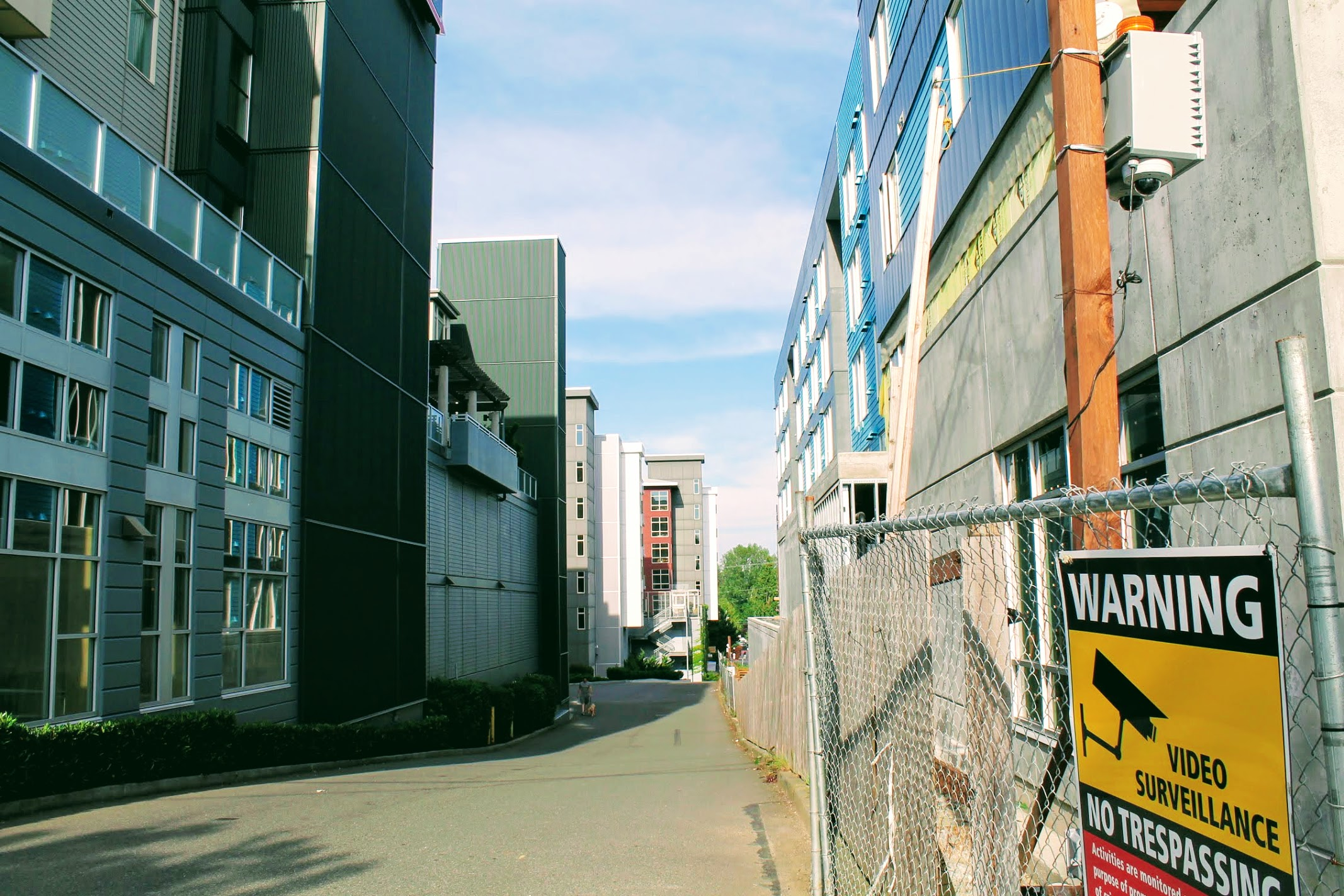 Alleyway showing grouping of mid-rises