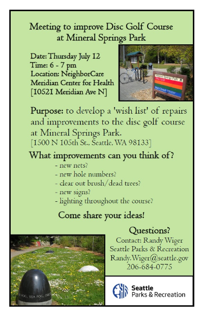 Disc Golf Course Improvement Meeting